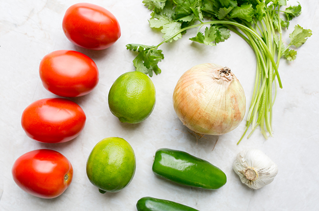 ingredients to make fresh salsa