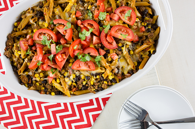 Overhead picture of large white baking dish filled with mexican casserole
