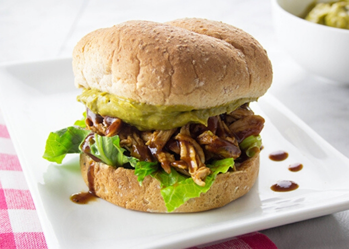 image of barbecue Chicken sandwich with jalapeno spread