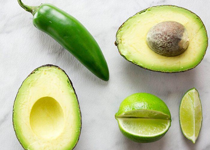 image of avocado, lime, and jalapeno