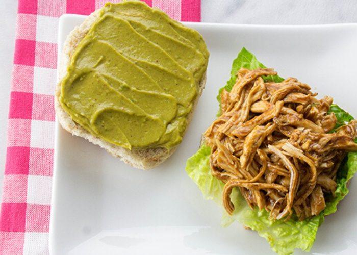 image of open faced bbq chicken sandwich