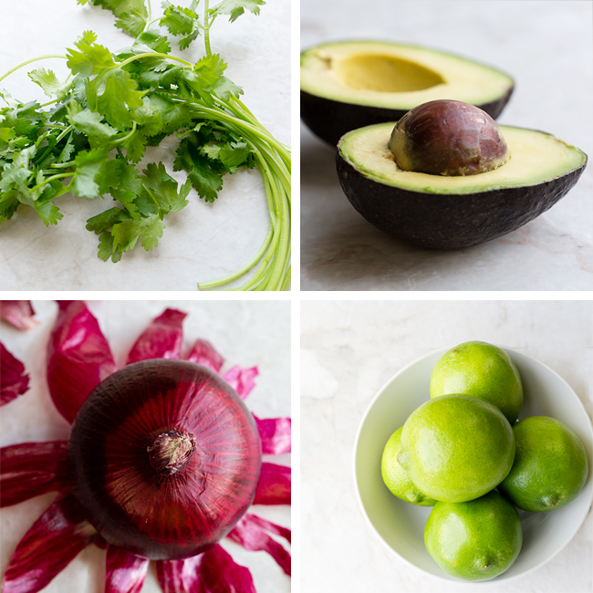 Ingredients for authentic guacamole recipe in a picture collage