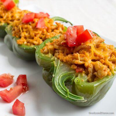 Green bell peppers stuffed