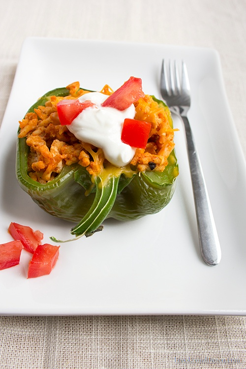 Stuffed bell pepper on white plate