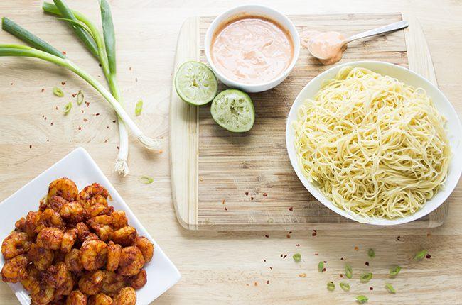 bang bang shrimp pasta overhead shot with ingredients