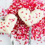 chocolate rice crispy treats hearts with sprinkles