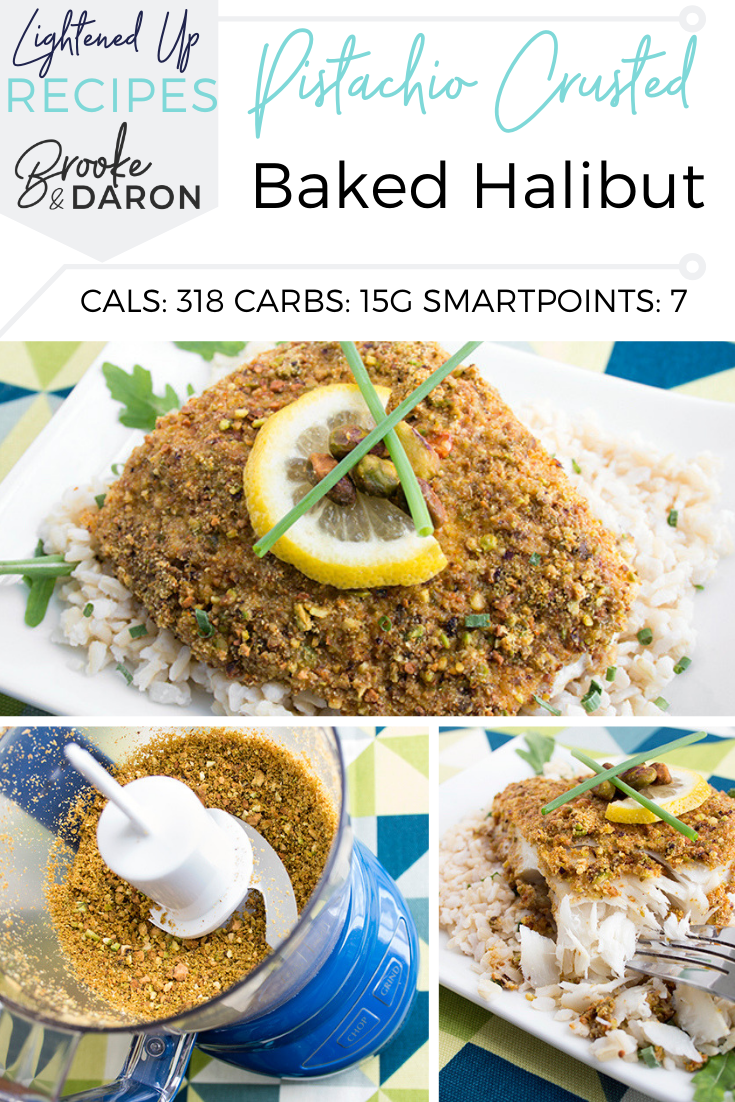 A collage of pistachio crusted baked halibut process of cooking and final product