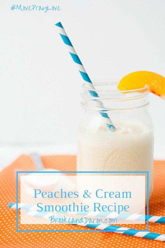 Peach smoothie in mason jar