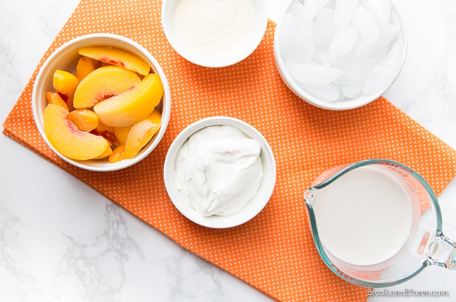 Ingredients for peach smoothie