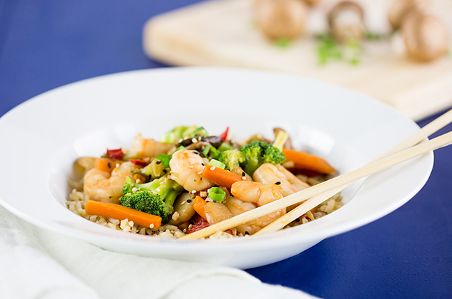 Vegetable Stir Fry with Shrimp close up in bowl