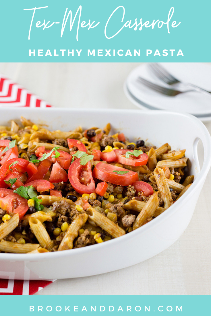 Large white baking dish filled with tex mex casserole