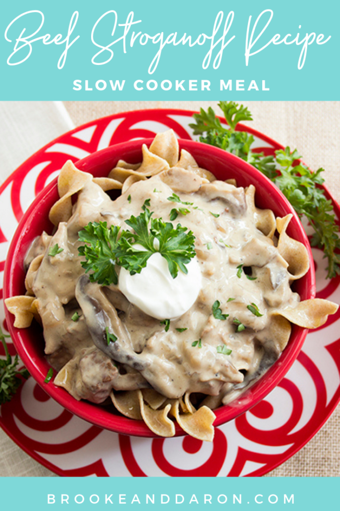 Overhead picture of a large red bowl of slow cooker beef stroganoff recipe
