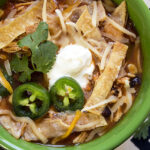 The Best Slow Cooker Chicken Tortilla Soup overhead shot