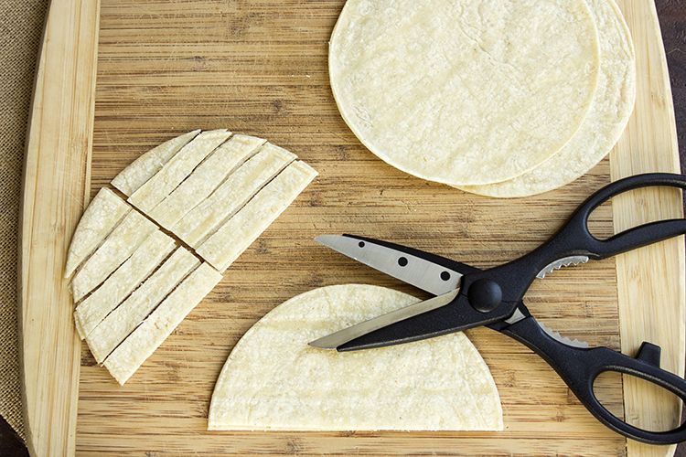 tortillas cut into strips with kitchen scissors