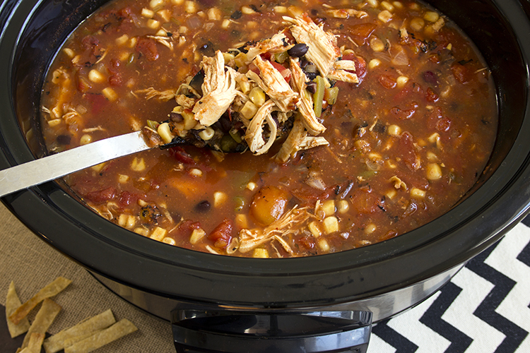 The Best Slow Cooker Chicken Tortilla Soup in the slow cooker