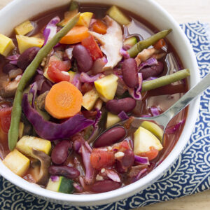 Large white bowl of simple cabbage soup recipe