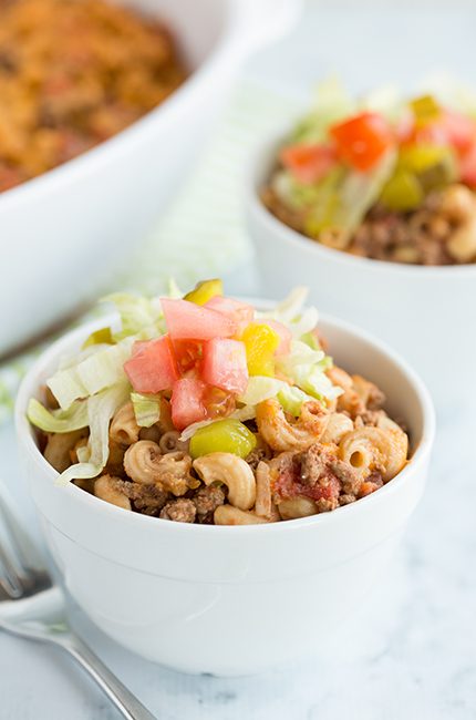 White bowls filled with cheeseburger macaroni casserole