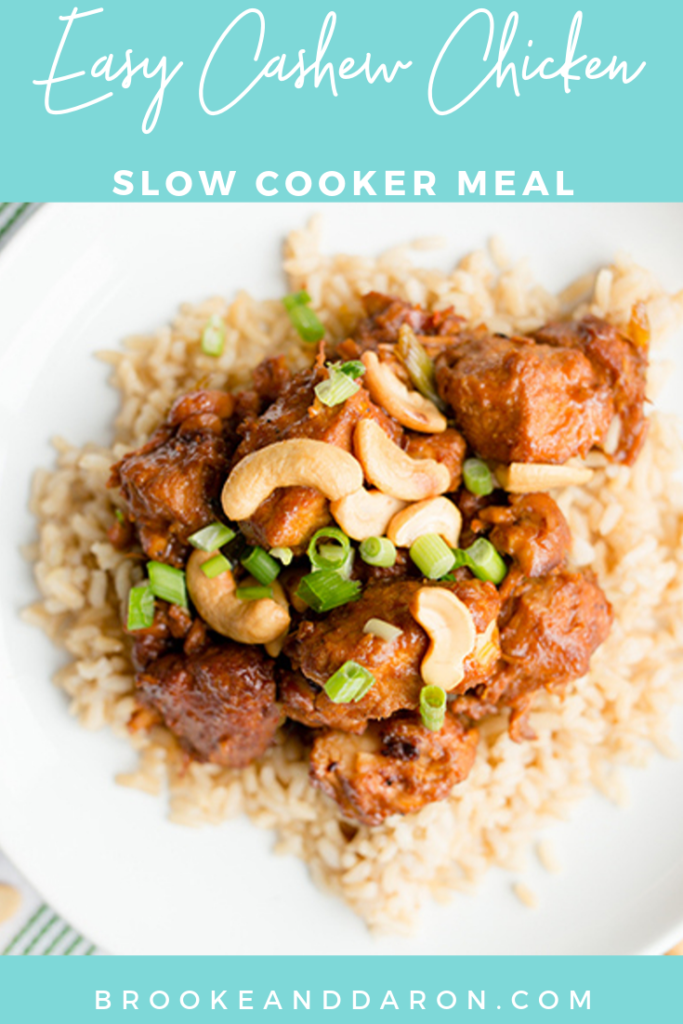 overhead picture of a plate with slow cooker cashew chicken recipe over rice