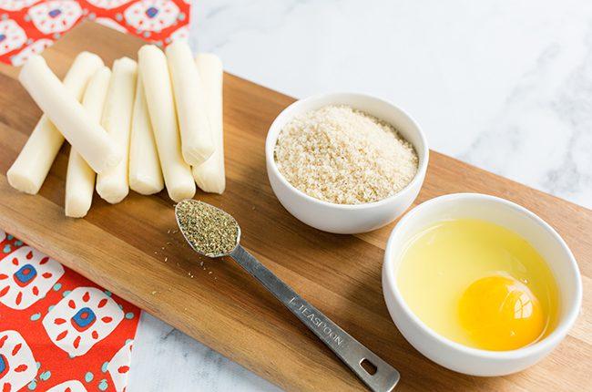 Ingredients for making mozzarella bites