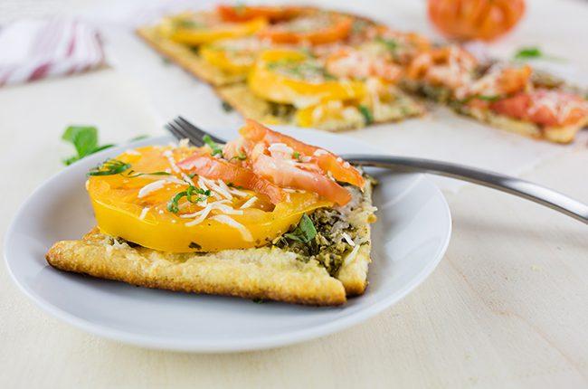 Delicious Heirloom Tomato and Pesto Tart