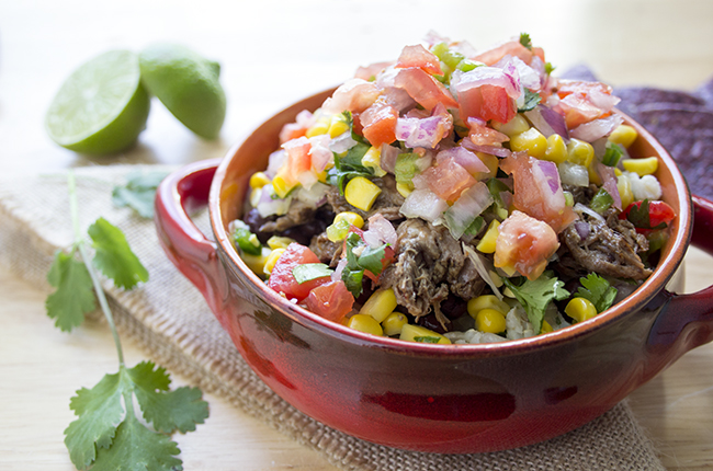 A barbacoa recipe turned into a beef burrito bowl like Chipotle