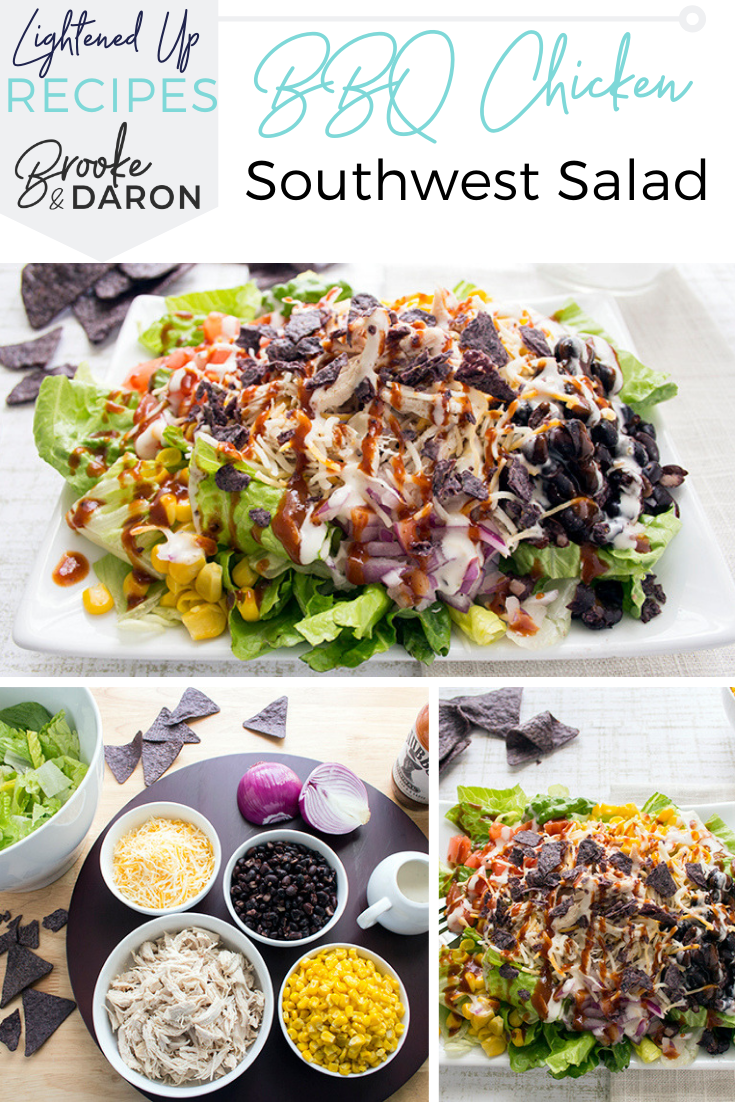 A bbq chicken salad with southwest toppings on a white plate