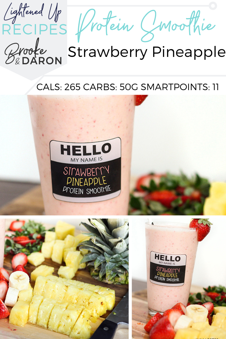 A collage image a protein smoothie with strawberry pineapple flavors
