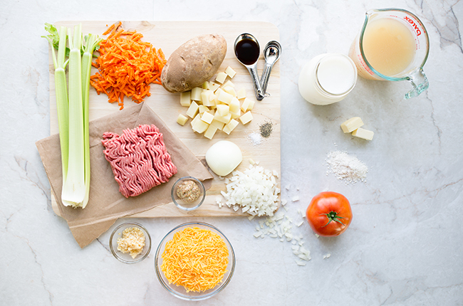 Ingredients for cheeseburger soup recipe