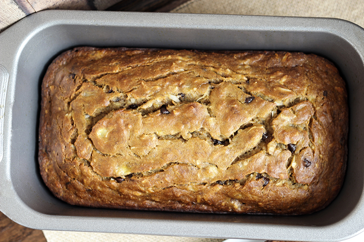 Chocolate Chip Coconut Banana Bread in a loaf pan