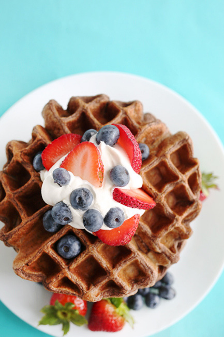 Chocolate waffles photographed from above sitting on teal cloth