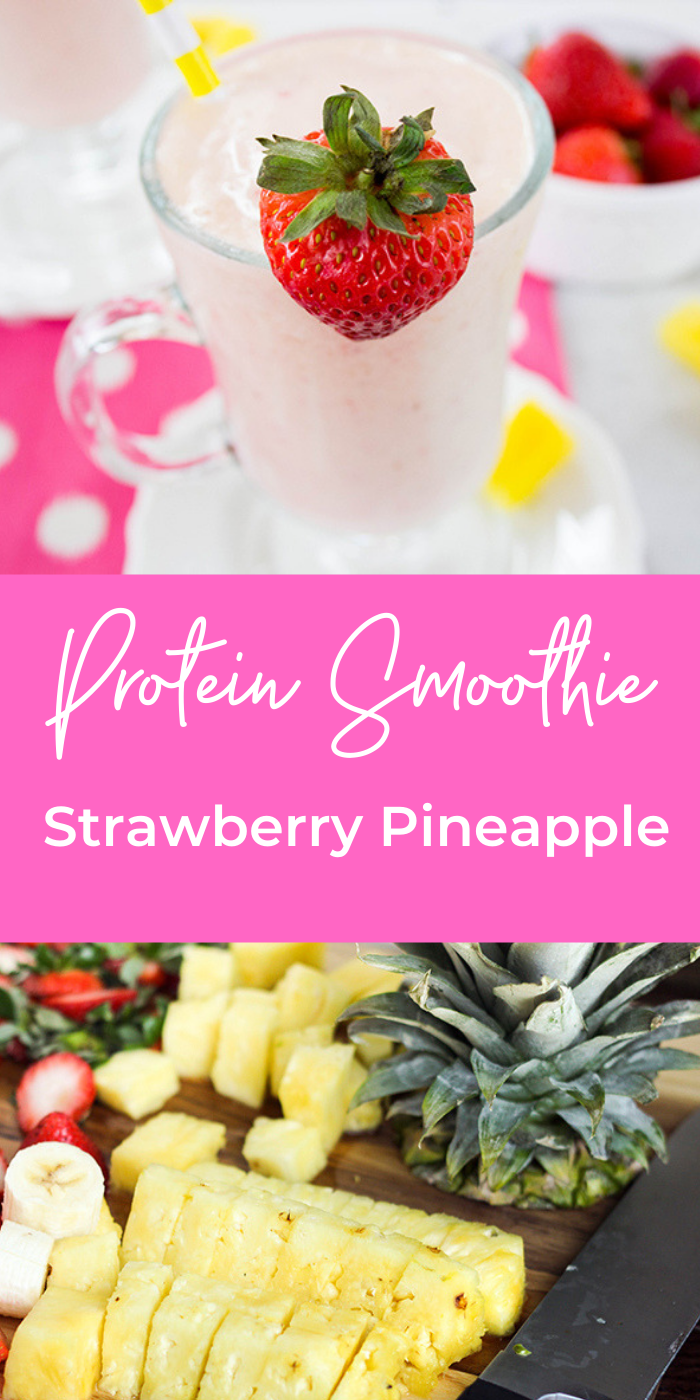 Collage image of strawberry pineapple smoothie pictures