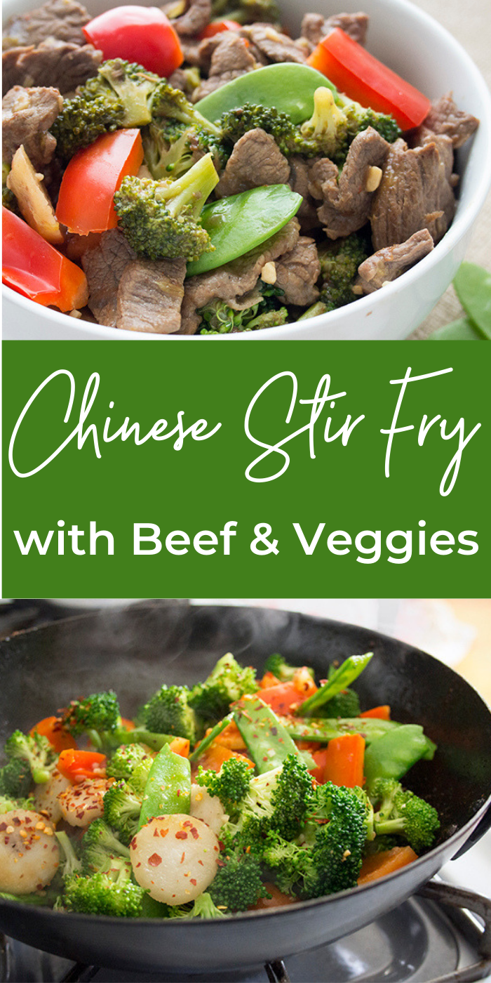 Collage of making chinese beef stir fry in a large wok