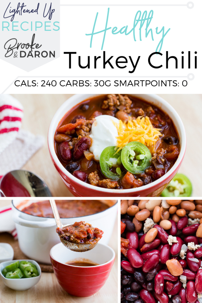 Collage picture lean turkey chili recipe in a red bowl