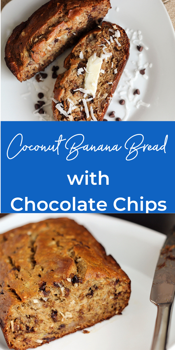 Collage picture of chocolate chip coconut banana bread recipe