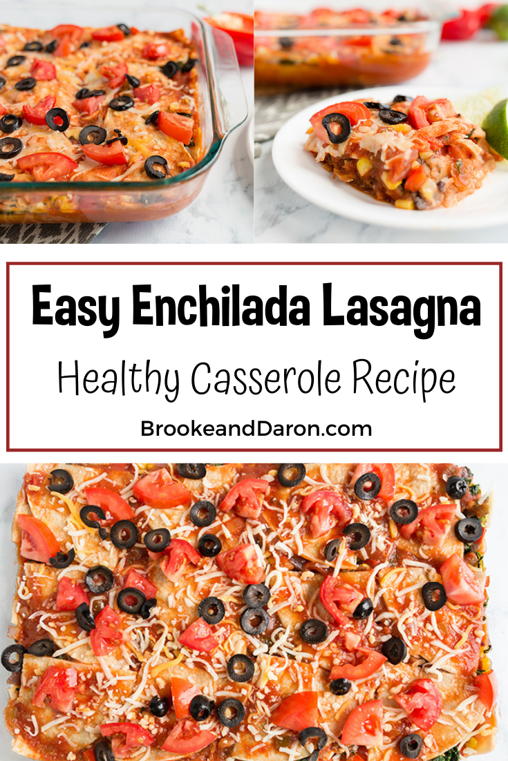 Collage picture of easy enchiladas casserole