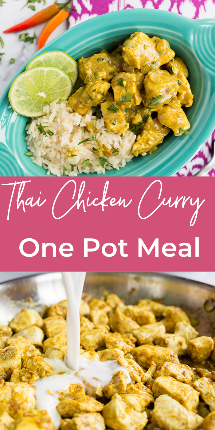 Collage picture of one pot thai chicken curry recipe