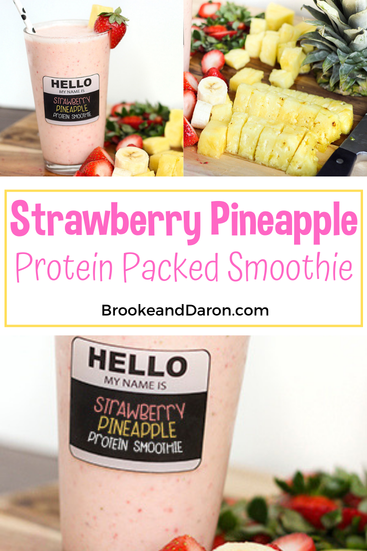 Collage picture of strawberry pineapple smoothie recipe