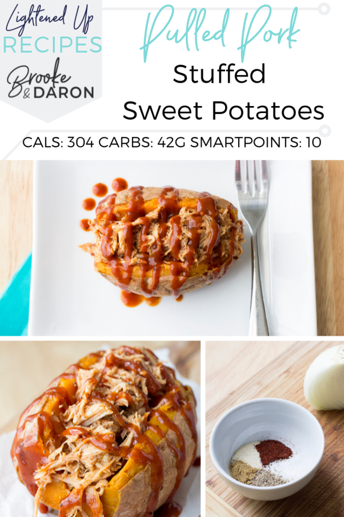 Collage picture of sweet potatoes stuffed with pulled pork