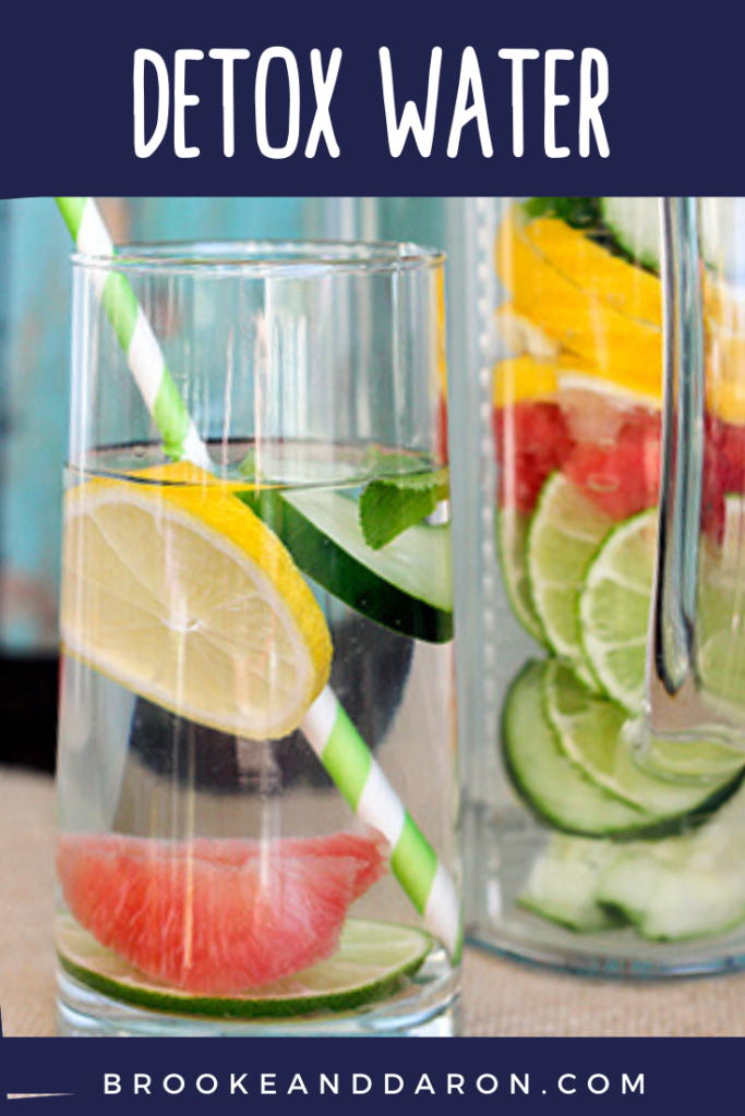 Detox Water in glass with fruit