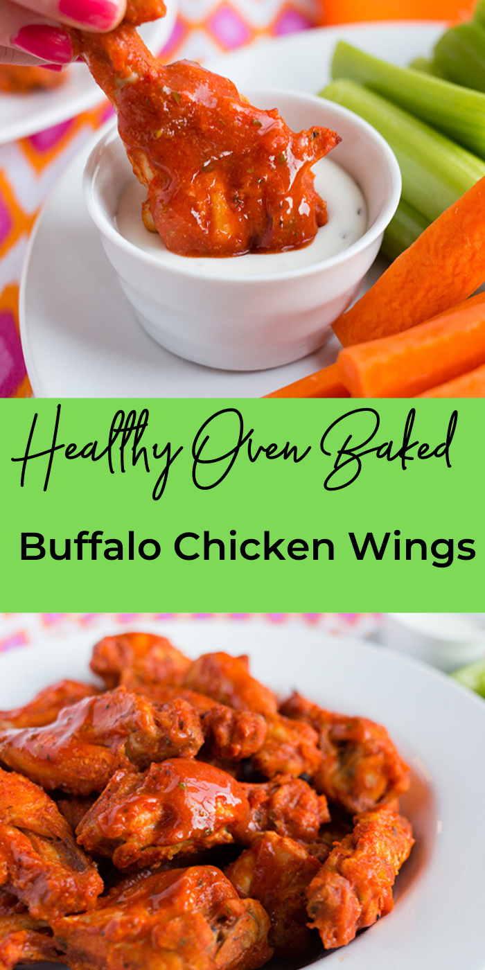 Healthy Oven Baked buffalo chicken wings collage image showing in a bowl and being dipped