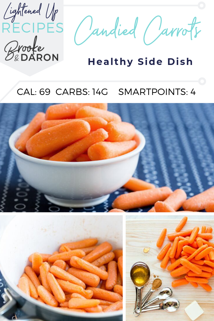 A collage picture of steps to make healthy candied carrots