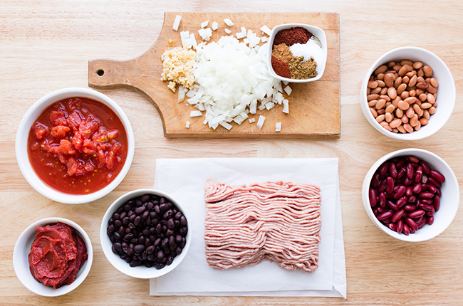 Ingredients for ground turkey chili recipe