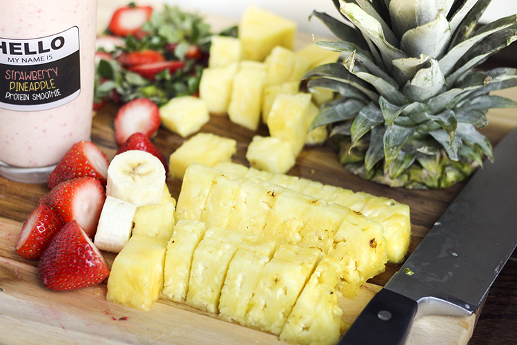 Ingredients for strawberry pineapple smoothie recipe