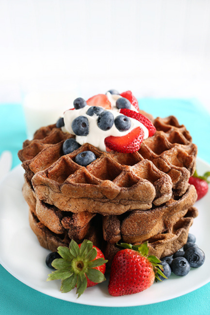 Long picture of a plate of chocolate waffles topped with berries and cream