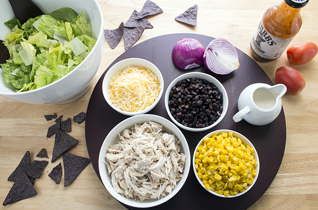 Overhead picture of ingredients for bbq chicken salad recipe