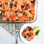 Overhead picture of mexican lasagna on a plate and in baking dish