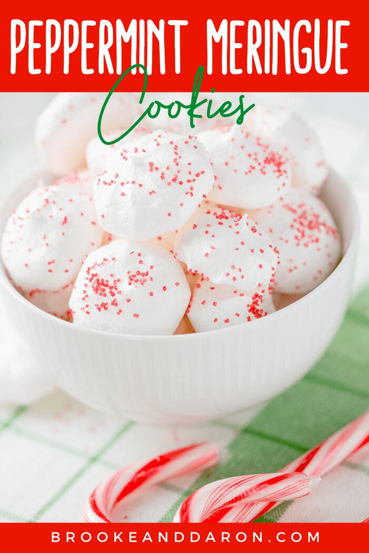 Peppermint Meringue Cookies in bowl