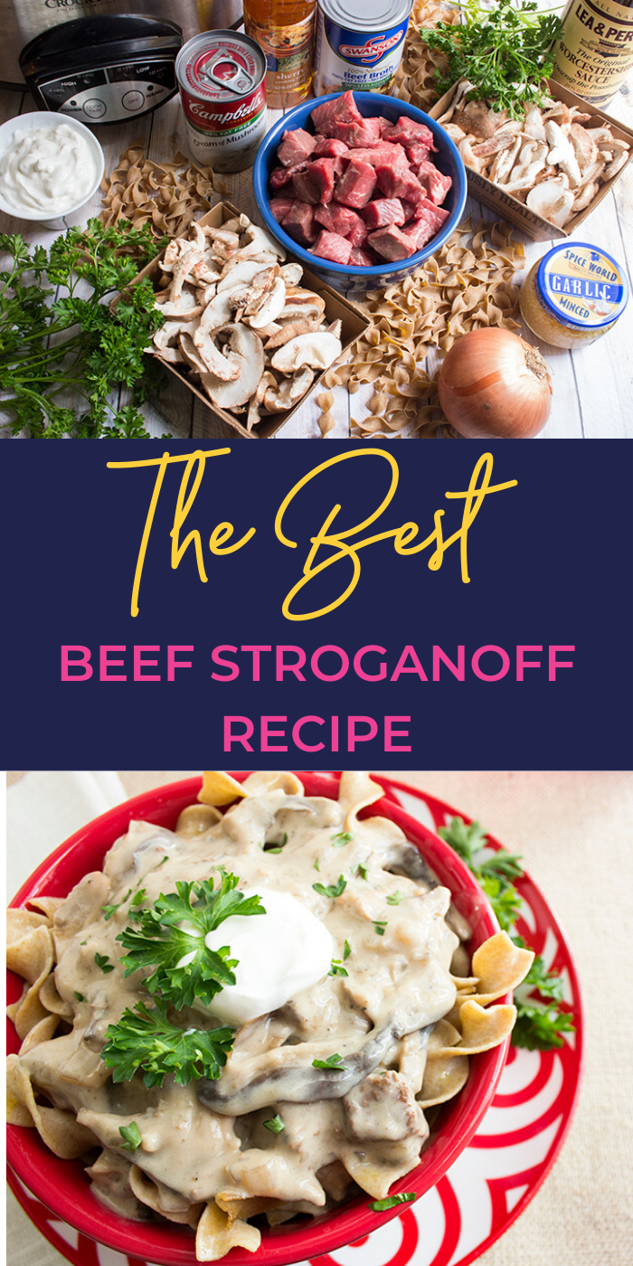 A collage picture of ingredients and prepared beef stroganoff recipe