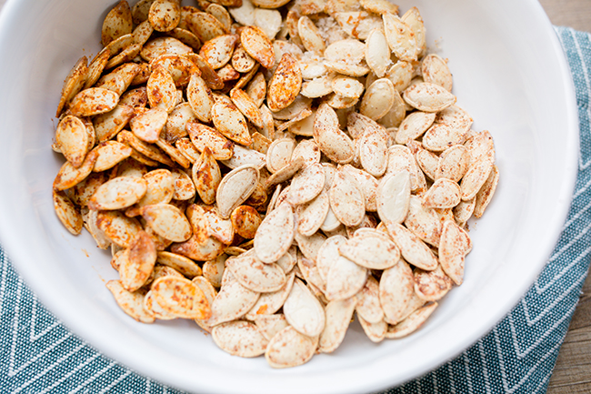Up close look at pumpkin seeds after being roasted