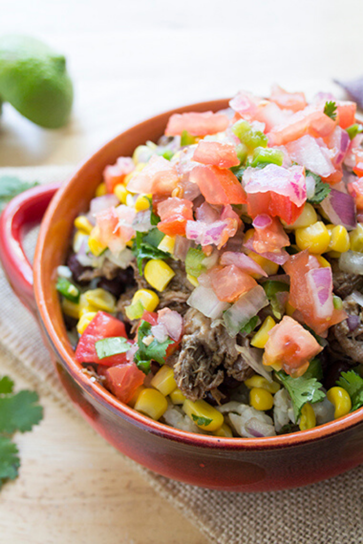 Up close picture of a barbacoa burrito bowl recipe